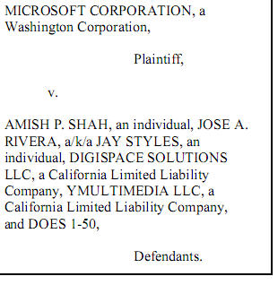 Snapshot first page of MSFT lawsuit with MBS - Cropped